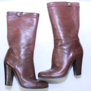 Nine West Amrit Brown Leather Heeled Calf Boot